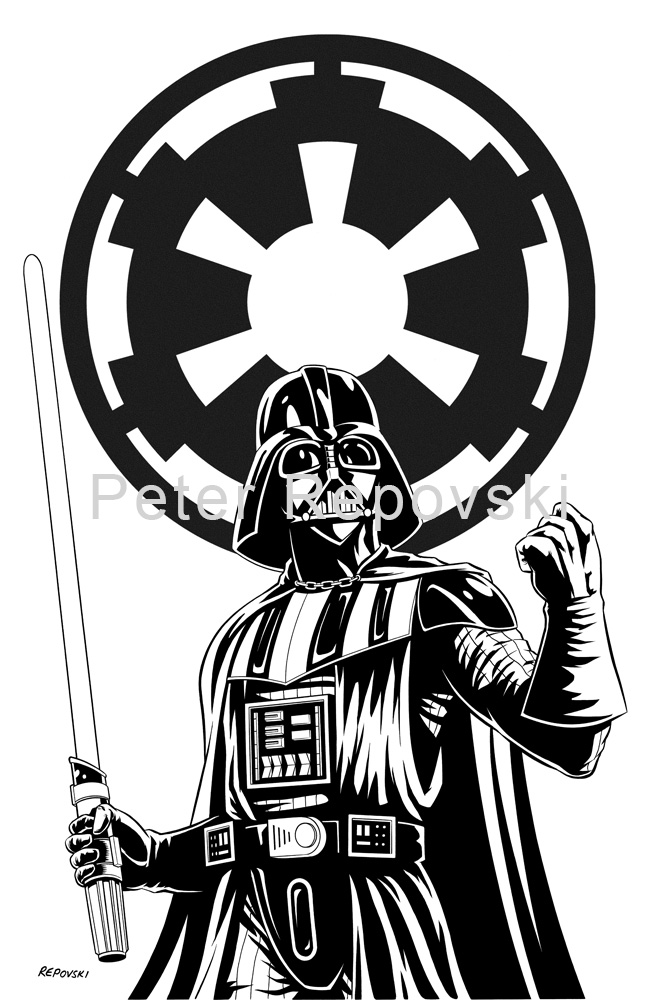 Black white gallery for Darth vader black and white